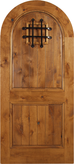 Agustin - Spanish Solid Rustic Knotty Alder Wood Arch Door Including Decorative Hardware