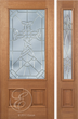 Allen - One Side Raised Moulding Mahogany Wood Exterior Door with Beveled Glass