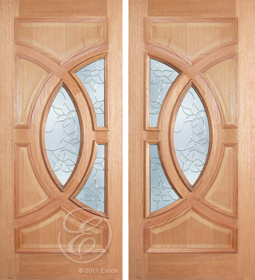 Andres - One Side Raised Moulding Mahogany Wood Exterior Double Doors with Beveled Glass