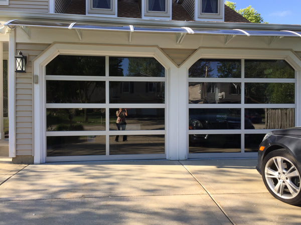 Contemporary Aluminum & Gray Tinted (See Through) Glass Garage Door
