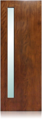 Avanti - Modern Mahogany Wood & White Laminated Glass Entry Solid Door