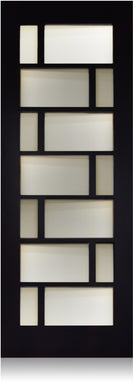 Brick - Modern Mahogany Wood & White Laminated Glass Entry Solid Door