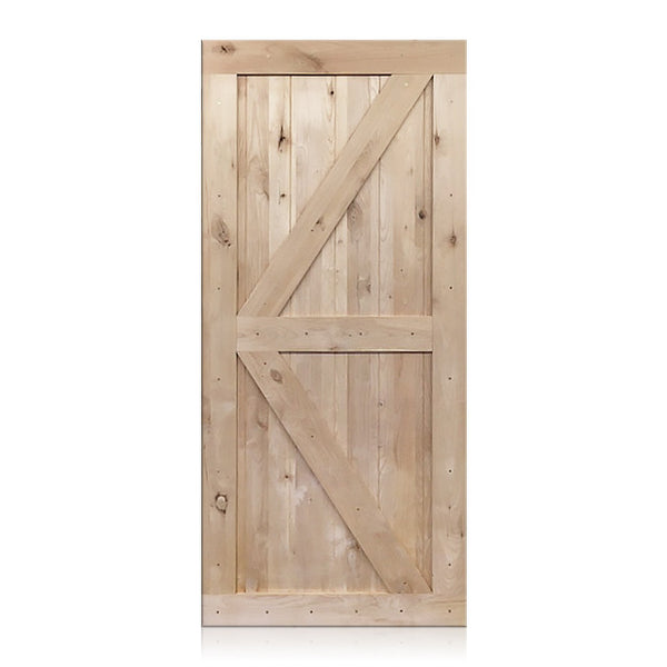 Nicolas - Rustic Unfinished 2-Panel V-Groove Knotty Alder Barn Door (Free