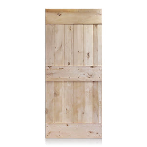 Pablo - Rustic Unfinished 2-Panel V-Groove Knotty Alder Barn Door (Free Shipping)