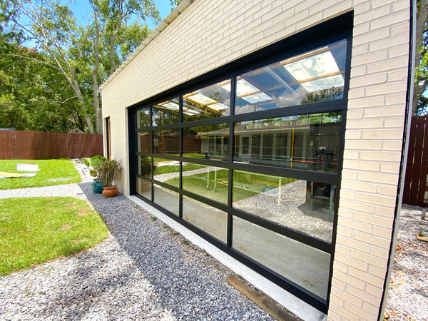 Contemporary Black Aluminum & Clear Tempered Glass Garage Door