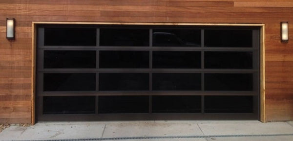 Contemporary Black Aluminum U0026 Black Laminate (Privacy) Glass Garage Door
