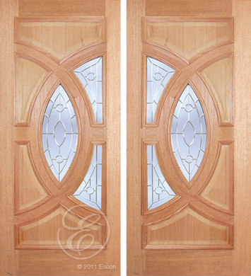 Brady - One Side Raised Moulding Mahogany Wood Exterior Double Doors with Beveled Glass