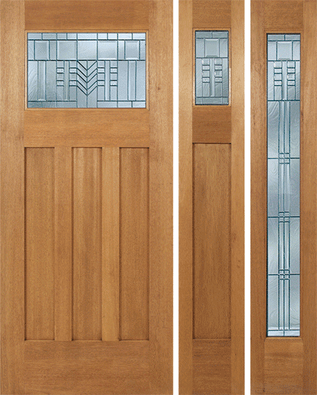 Craftsman Design Mahogany Wood Door With Beveled