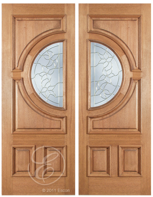 Calvin - One Side Raised Moulding Mahogany Wood Exterior Double Doors with Beveled Glass