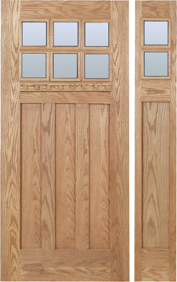 Camila - Craftsman Design Oak Wood Door with Clear Glass