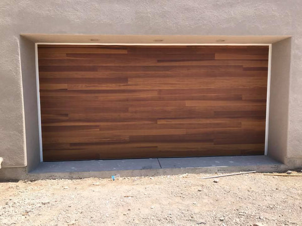 Cleo - Horizontal Grooves and Texture Steel Garage Door Modern Design