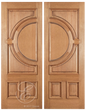 Conner - One Side Raised Moulding Mahogany Wood Exterior Double Doors