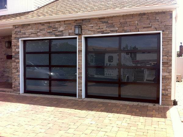 Contemporary Aluminum & Frosted Tempered (Privacy) Glass Garage Door