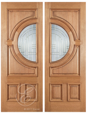 Corey - One Side Raised Moulding Mahogany Wood Exterior Double Doors with Beveled Glass