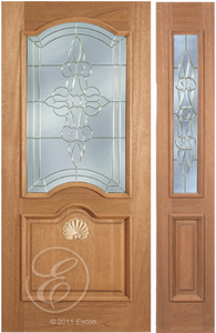 Curtis - One Side Raised Moulding Mahogany Wood Exterior Door with Beveled Glass