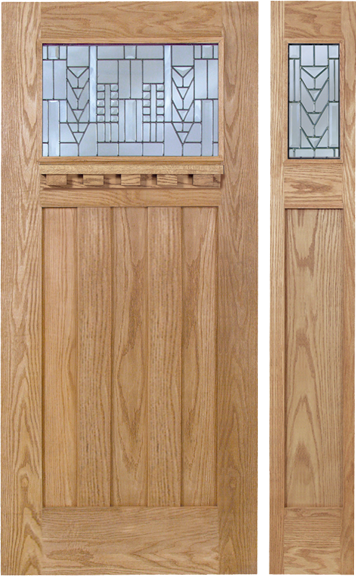 Dakota - Craftsman Design Oak Wood Door with Beveled Glass