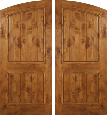 Florence - Spanish Solid Rustic Knotty Alder Wood Arch Double Doors
