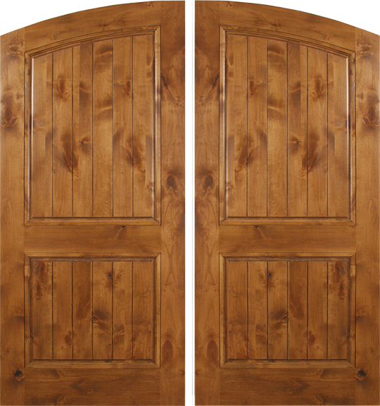 Florence   Spanish Solid Rustic Knotty Alder Wood Arch Double Doors