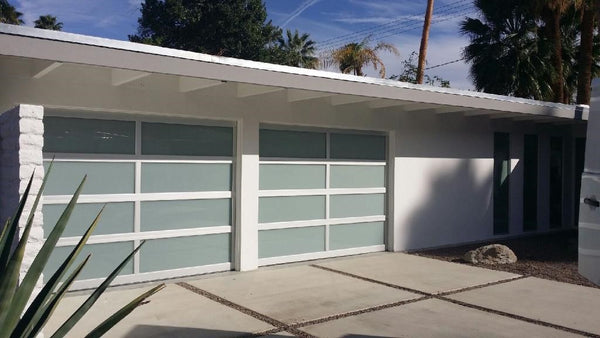 aluminum u0026 white laminate privacy glass garage door