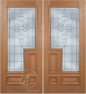 Johan - One Side Raised Moulding Mahogany Wood Exterior Double Doors with Beveled Glass