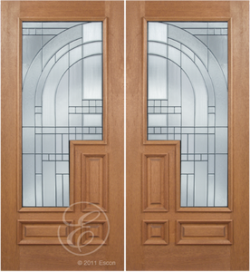 Jorden - One Side Raised Moulding Mahogany Wood Exterior Double Doors with Beveled Glass