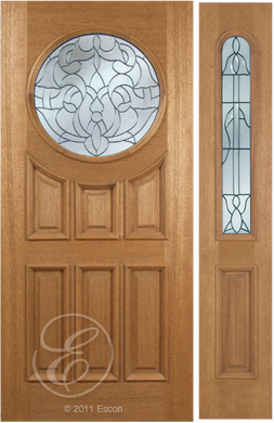 Kareem - One Side Raised Moulding Mahogany Wood Exterior Door with Beveled Glass