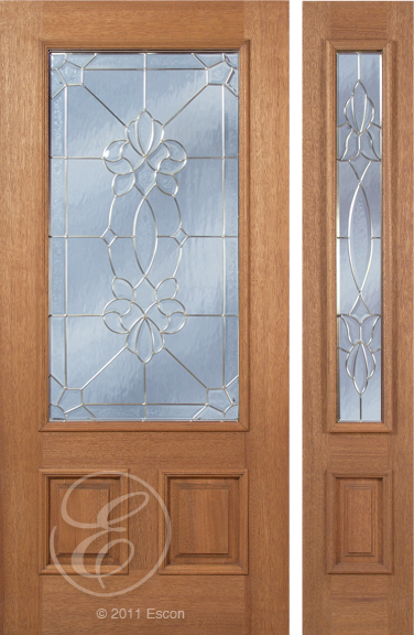 Kellen - One Side Raised Moulding Mahogany Wood Exterior Door with Beveled Glass