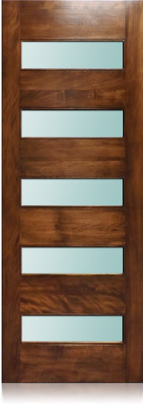 Leonardo - Modern Mahogany Wood & White Laminated Glass Entry Solid Door