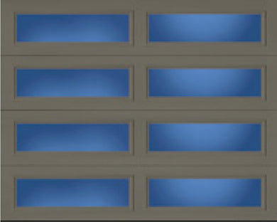 Flush Panel (FP)* with Long Panel Clear Windows (on all sections) Steel Garage Door