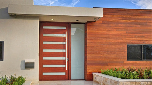 Maranti - Modern Mahogany Wood and White Laminated Glass Entry Solid Door