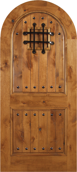 Nicolas - Spanish Solid Rustic Knotty Alder Wood Arch Door Including Decorative Hardware