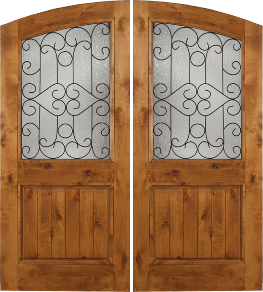 Noble - Spanish Solid Rustic Knotty Alder Wood Arch Double Doors with Decorative Iron Work & Noble - Spanish Solid Rustic Knotty Alder Wood Arch Double Doors ...