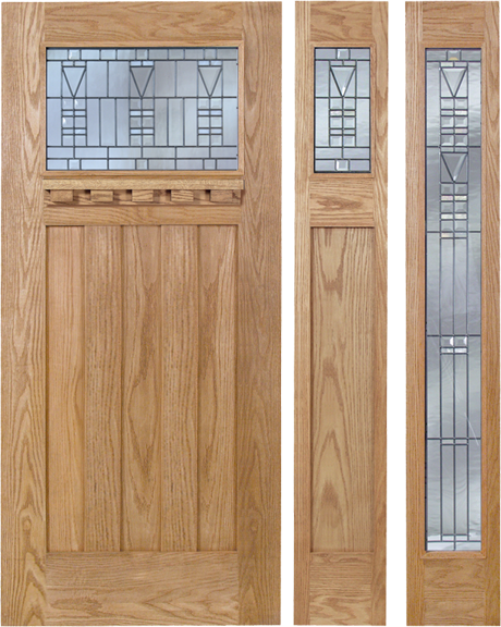 Noelle - Craftsman Design Oak Wood Door with Beveled Glass