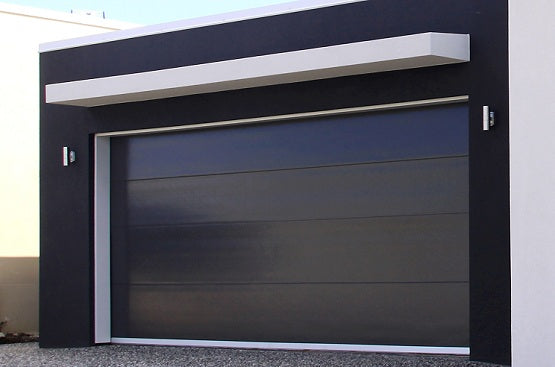 Noir - Flush Panel Insulated Steel with a Natural Wood-Grain Texture Garage Door Black Color