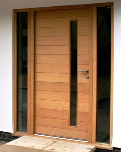 Modern Mahogany Wood & White Laminated Glass Entry