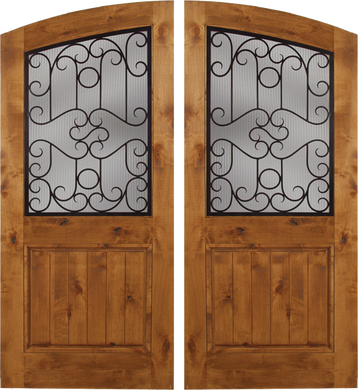 Palermo - Spanish Solid Rustic Knotty Alder Wood Arch Double Doors with Decorative Iron Work