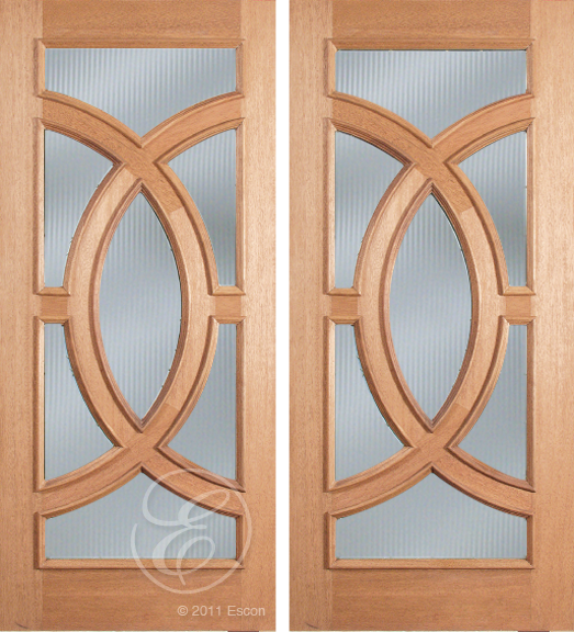 Patrick - One Side Raised Moulding Mahogany Wood Exterior Double Doors with Beveled Glass