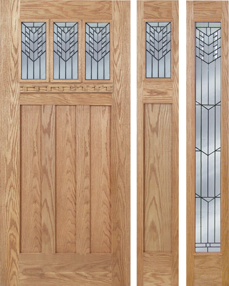 Craftsman Design Oak Wood Door With Beveled