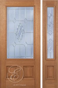Trent - One Side Raised Moulding Mahogany Wood Exterior Door with Beveled Glass