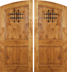 Venice - Spanish Solid Rustic Knotty Alder Wood Arch Double Doors Including Decorative Hardware