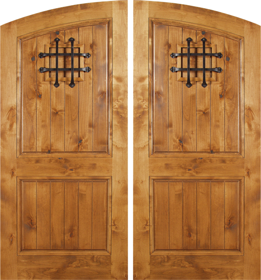 Venice   Spanish Solid Rustic Knotty Alder Wood Arch Double Doors Including  Decorative Hardware