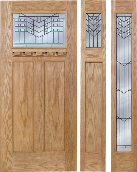 Victoria - Craftsman Design Oak Wood Door with Beveled Glass