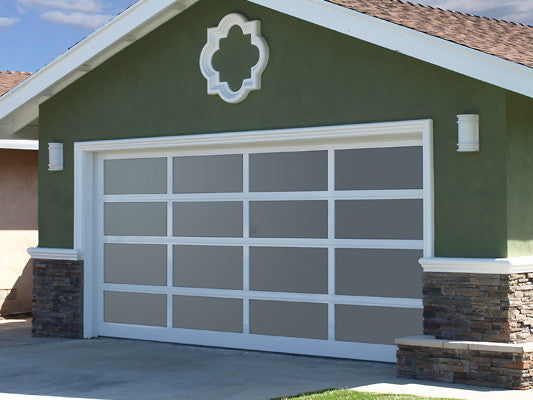 Contemporary Aluminum Frosted Tempered Privacy Glass Garage Door