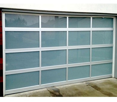 Superbe Contemporary Aluminum U0026 White Laminate (Privacy) Glass Garage Door