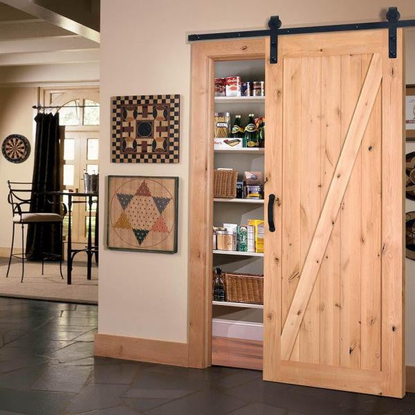 Marco - Rustic Unfinished 1-Panel V-Groove Knotty Alder Barn Door (Free Shipping)