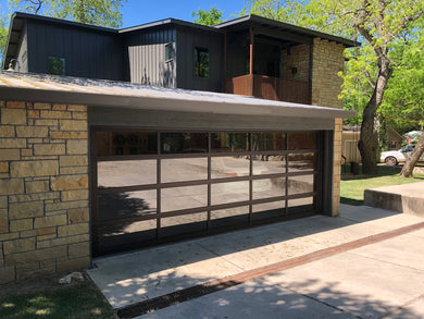 Contemporary Dark Bronze Aluminum & Clear Tempered Glass Garage Door