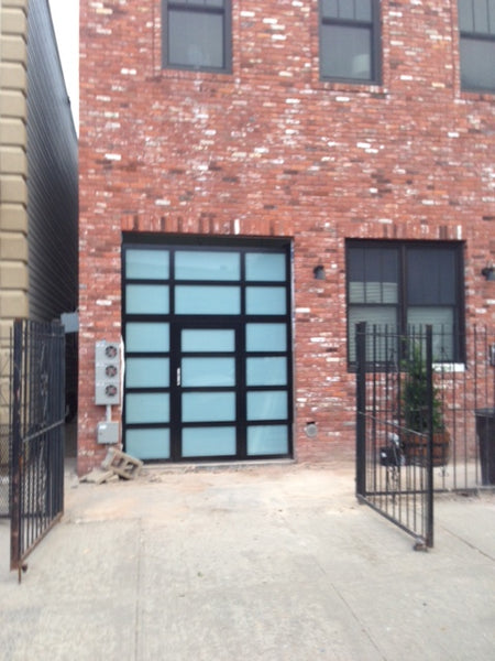 Contemporary Aluminum & Clear Tempered Glass Garage Door with Passage Door