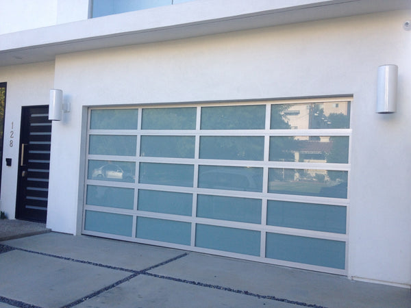 Contemporary Aluminum & White Laminate (Privacy) Glass Garage Door