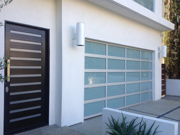 Contemporary Aluminum White Laminate Privacy Glass Garage Door
