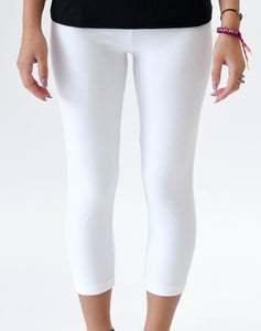"White 23"" Capri Length Legging - Basics by Michelle V"